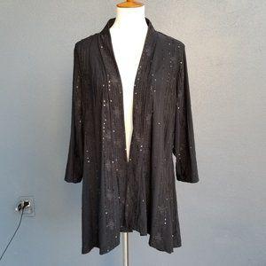 Susan Graver Liquid Knit Black Party Jacket XL